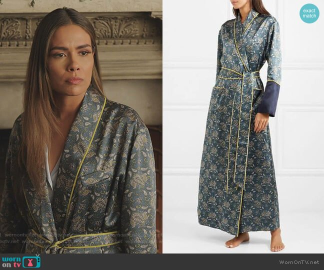 Bettina Printed Silk-Satin Robe by Olivia von Halle worn by Cristal Jennings (Daniella Alonso) on Dynasty