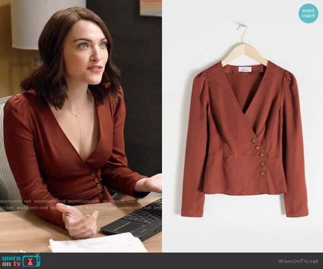 & Other Stories Lyocell Wrap Top worn by Cara Bloom (Violett Beane) on God Friended Me