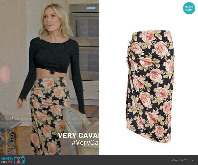 Paco Rabanne Ruched Rose Print Skirt worn by Kristin Cavallari  on Very Cavallari