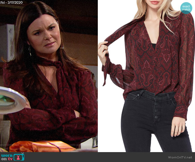 Paige Cleobelle Blouse worn by Katie Logan (Heather Tom) on The Bold & the Beautiful
