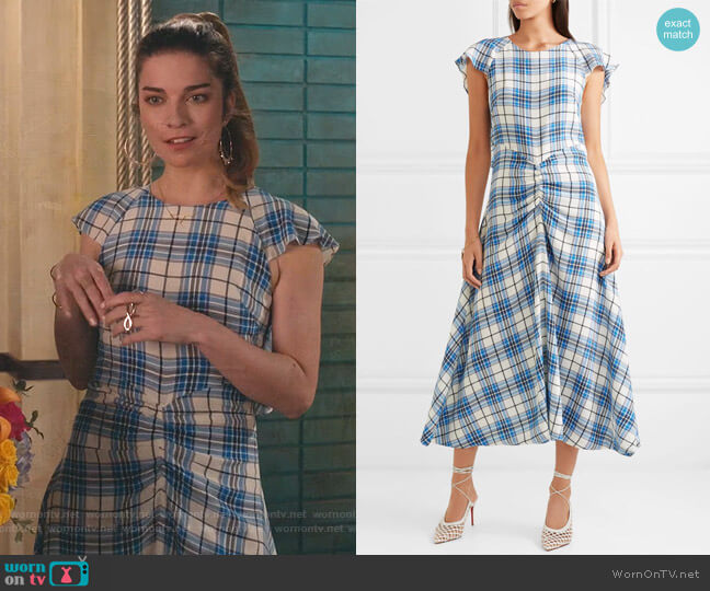 Dutch Ruched Checked Midi Dress by Paper London worn by Alexis Rose (Annie Murphy) on Schitts Creek