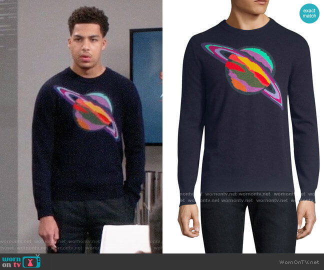 Paul Smith Saturn Sweater worn by Andre Johnson Jr (Marcus Scribner) on Blackish