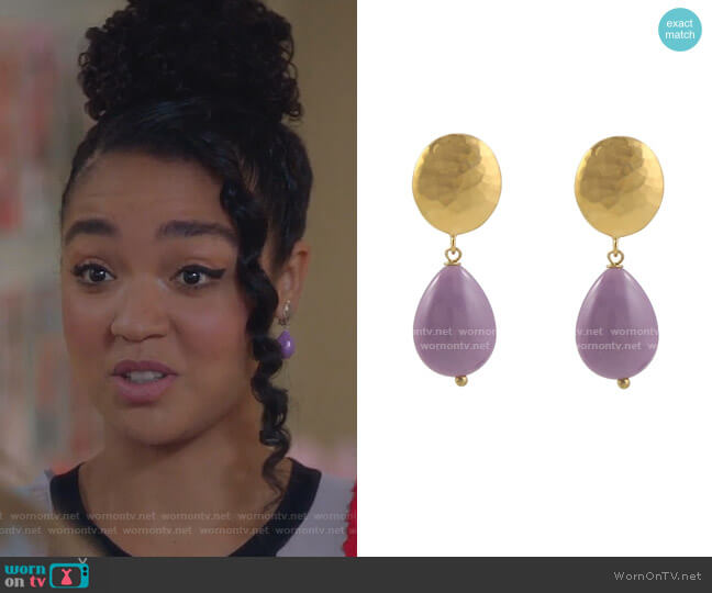 Orchid Stone Clip On Earrings by Peggy Li worn by Kat Edison (Aisha Dee) on The Bold Type