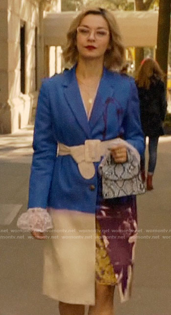 Pepper's blue floral coat on Katy Keene
