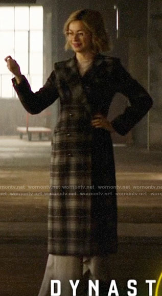 Pepper's long plaid coat and white boots on Katy Keene