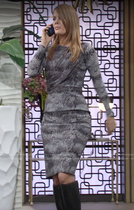 Phyllis's grey animal print long sleeve dress on The Young and the Restless