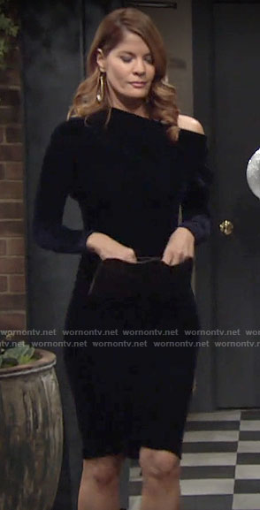 Phyllis's dark blue velvet off-shoulder dress on The Young and the Restless