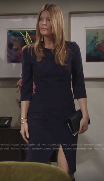 Phyllis's navy sheath dress with slit on The Young and the Restless
