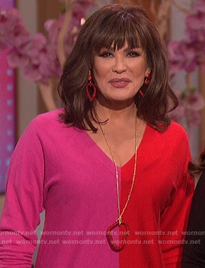 Marie's pink and red colorblock sweater on The Talk