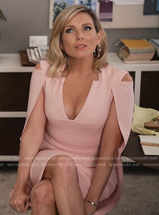 Brianna's pink cape midi dress on Grace and Frankie