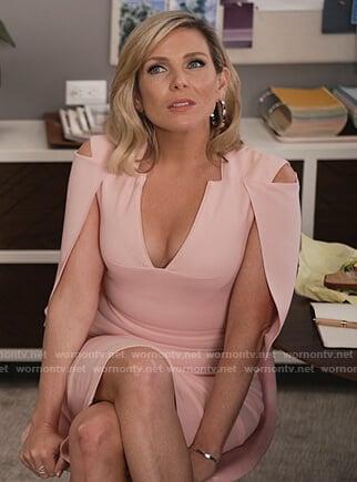 Brianna's pink cape midi dress on Grace and Frankie