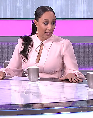 Tamera's pink cutout button front dress on The Real