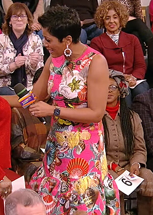 Tamron's pink butterfly and shell print dress on Tamron Hall Show