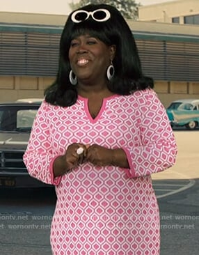 Sheryl's pink geometric print dress on The Talk
