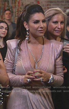 Jennifer's pink metallic plunging dress on The Real Housewives of New Jersey