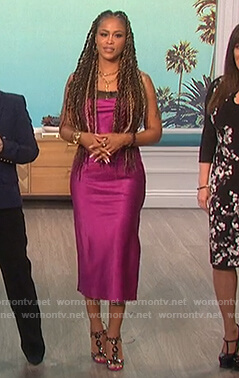 Eve's pink midi dress with lace trim on The Talk