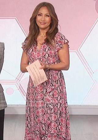Carrie's pink snakeskin print dress on The Talk