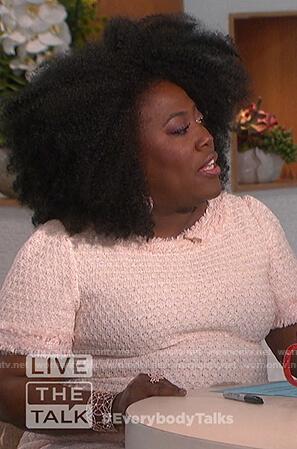 Sheryl's pink tweed sheath dress on The Talk