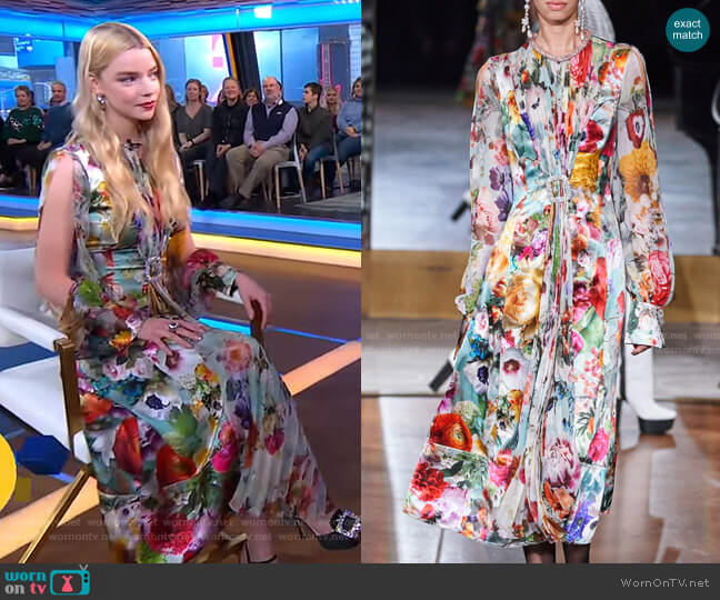 Pleated Floral Midi Dress by Prabal Gurung worn by Anya Taylor-Joy