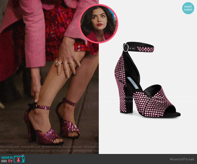 Prada Crystal-Embellished Satin Ankle-Strap Sandals worn by Katy Keene (Lucy Hale) on Katy Keene
