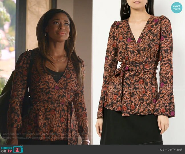 Paisley Floral Wrap Top by Proenza Schouler worn by Poppy (Kimrie Lewis) on Single Parents