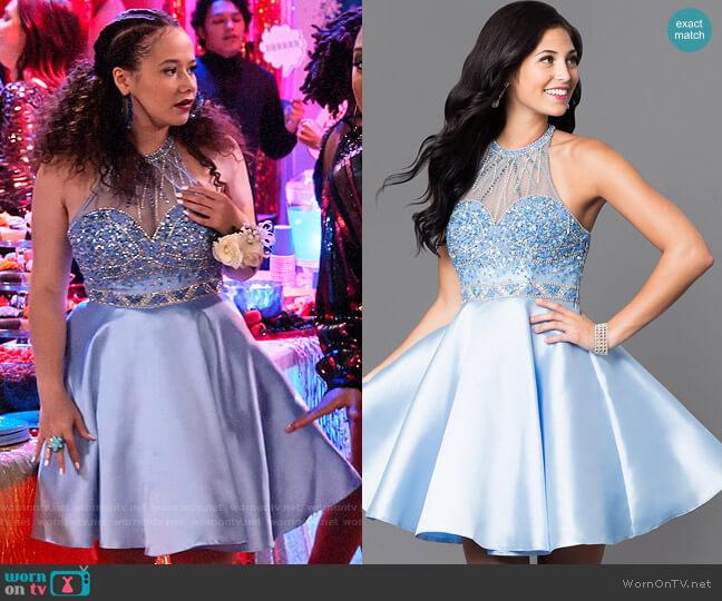 Prom Girl Embellished Illusion Sweetheart Circle Skirt Short Dress worn by Jade (Talia Jackson) on Family Reunion