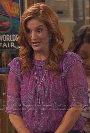 Chelsea's purple printed blouse on Ravens Home
