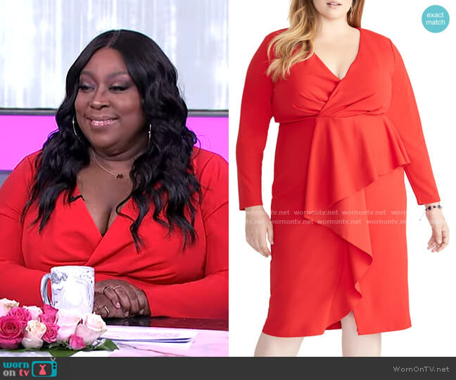 Ruffle Front Faux Wrap Dress by Rachel Rachel Roy worn by Loni Love  on The Real