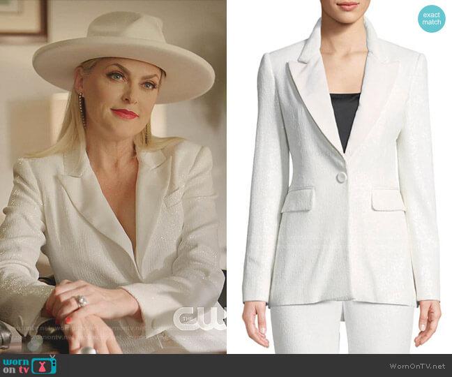 Amber One-Button Sequin Blazer by Rachel Zoe worn by Alexis Carrington (Elaine Hendrix) on Dynasty