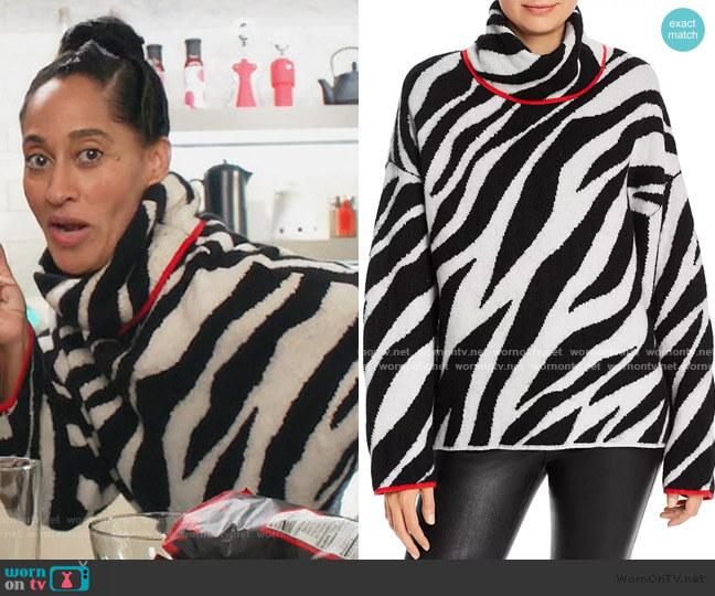 Kiki Zebra Wool-Blend Turtleneck Sweater by Rag & Bone worn by Rainbow Johnson (Tracee Ellis Ross) on Blackish