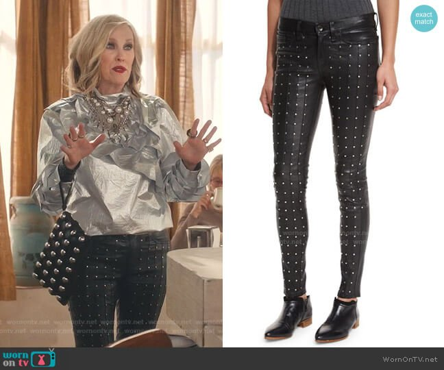 Hyde Studded Leather Skinny Jeans by Rag & Bone Jean worn by Moira Rose (Catherine O'Hara) on Schitts Creek