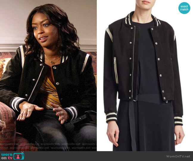Rag & Bone Baela Varsity Jacket worn by Ali Finer (Javicia Leslie) on God Friended Me