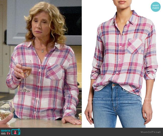 Rails Charli Shirt in White Peach Fuschia worn by Vanessa Baxter (Nancy Travis) on Last Man Standing