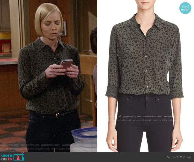 Rails Kate Silk Shirt in Olive Cheetah worn by Jill Kendall (Jaime Pressly) on Mom