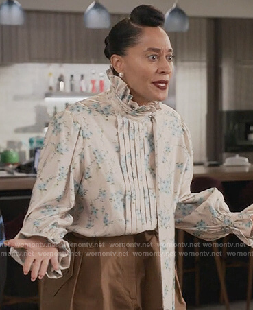 Rainbow's floral tie ruffle neck blouse on Black-ish