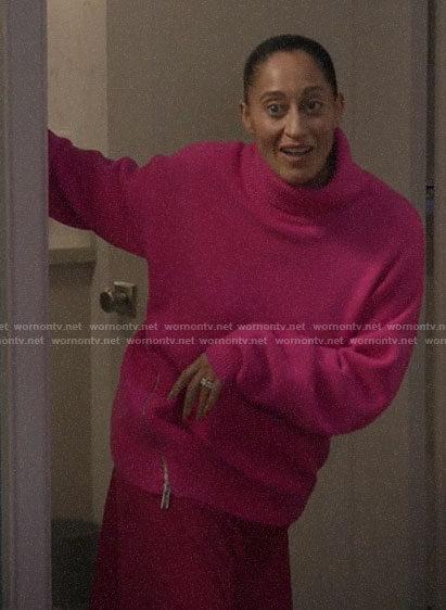 Rainbow's pink side zip turtleneck sweater on Black-ish