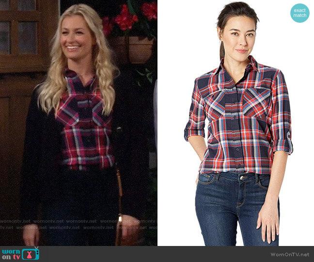 LAUREN Ralph Lauren Plaid Cotton Twill Roll-Tab Shirt worn by Gemma (Beth Behrs) on The Neighborhood