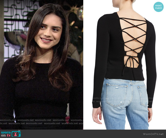Ramy Brook Lucas Ribbed Lace-Up Top worn by Lola Rosales (Sasha Calle) on The Young & the Restless