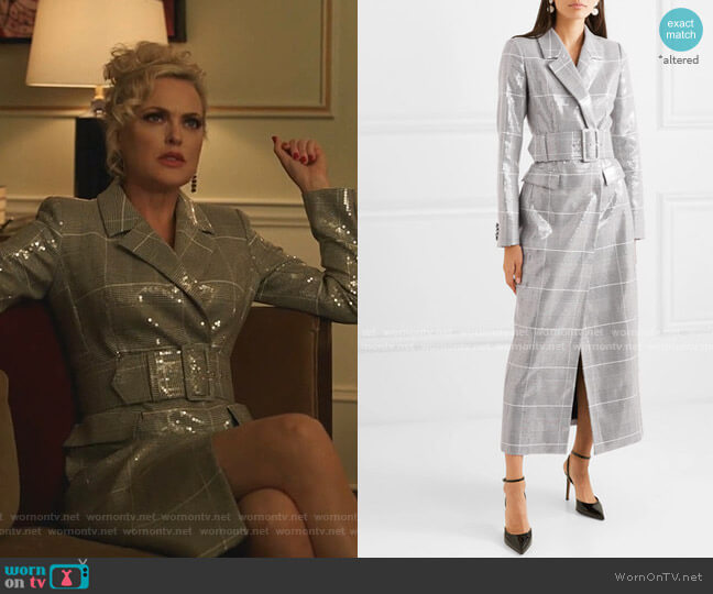 Sequined Checked Tweed Coat by Rasario worn by Alexis Carrington (Elaine Hendrix) on Dynasty