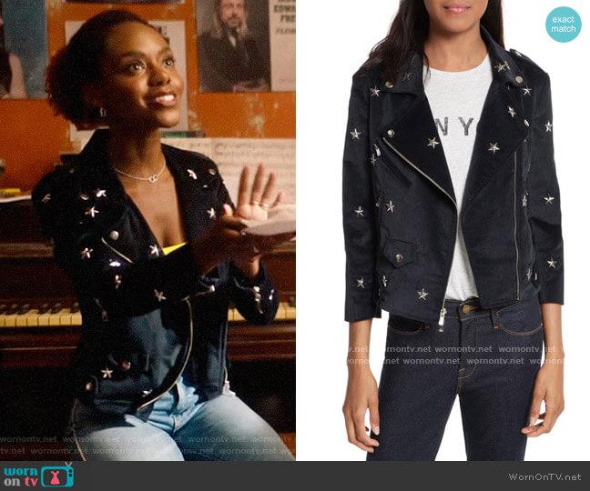 Rebecca Minkoff Wes Star Stud Moto Jacket worn by Josie McCoy (Ashleigh Murray) on Katy Keene