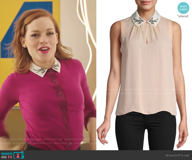 Embroidered Bird Collar Silk Blouse by Rebecca Taylor worn by Zoey Clarke (Jane Levy) on Zoeys Extraordinary Playlist