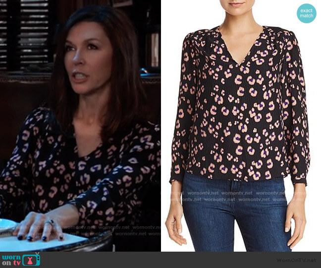 Rebecca Taylor Leopard-Printed Silk Top worn by Anna Devane (Finola Hughes) on General Hospital