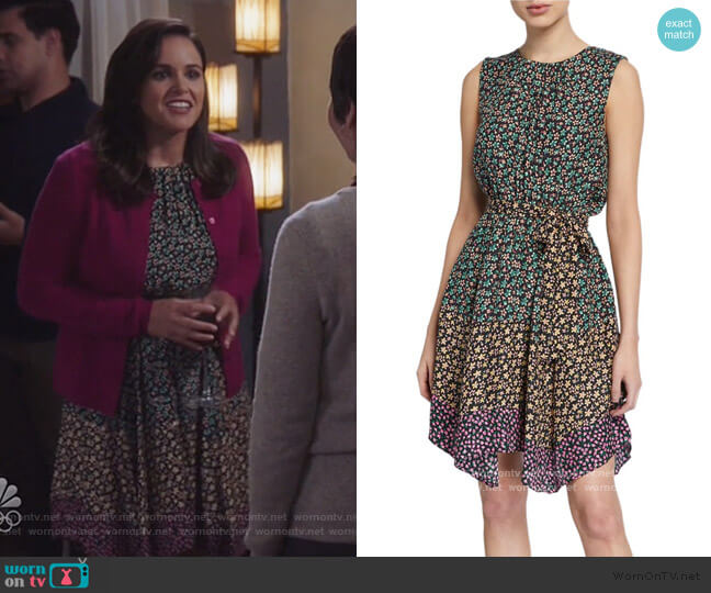 Louisa Mix Floral Silk Dress by Rebecca Taylor worn by Amy Santiago (Melissa Fumero) on Brooklyn Nine-Nine