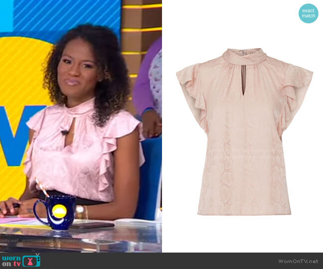 Snake Print Top by Rebecca Taylor worn by Janai Norman  on Good Morning America