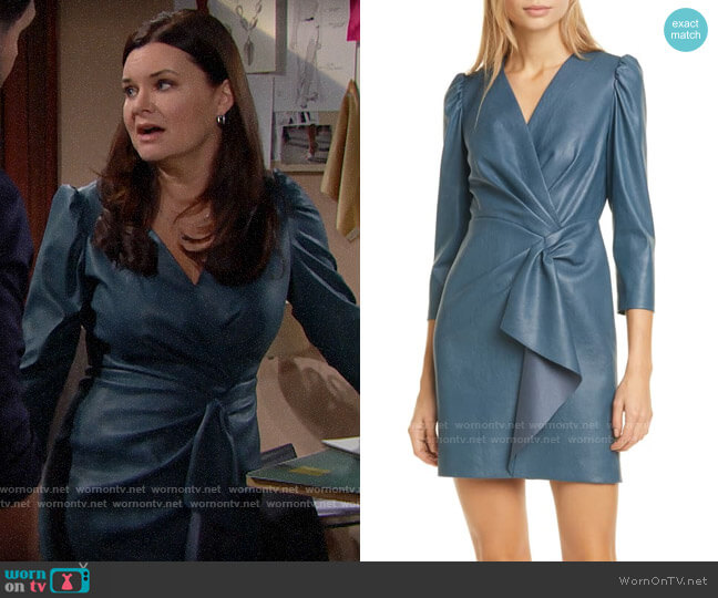 Rebecca Taylor Faux Leather Dress in Wave worn by Katie Logan (Heather Tom) on The Bold & the Beautiful
