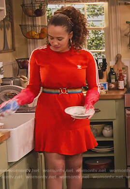 Jade's red Adidas sweater dress on Family Reunion