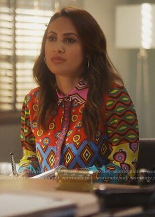 Ana's mixed print blouse on Grown-ish