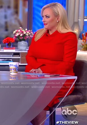 Meghan's red bell sleeve flare dress on The View