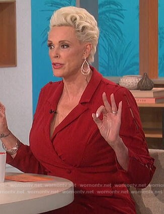 Brigitte Nielsen's red blazer dress on The Talk