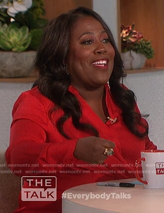 Sheryl's red satin twist front blouse on The Talk